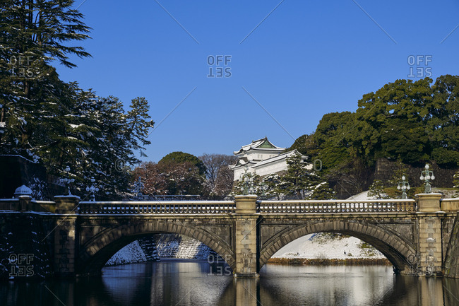 Tokyo Imperial Palace on a sunny Winter day after a snow storm, Tokyo, Japan
