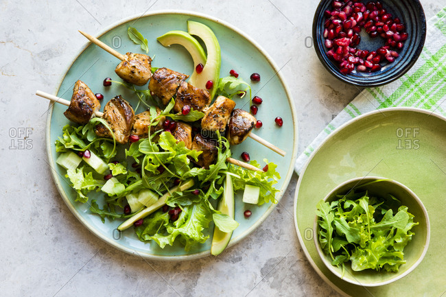 Barbecue chicken kebab with a salad
