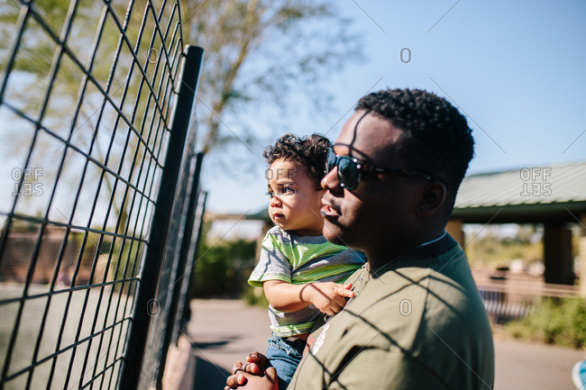 African American man carrying little son looking through fence