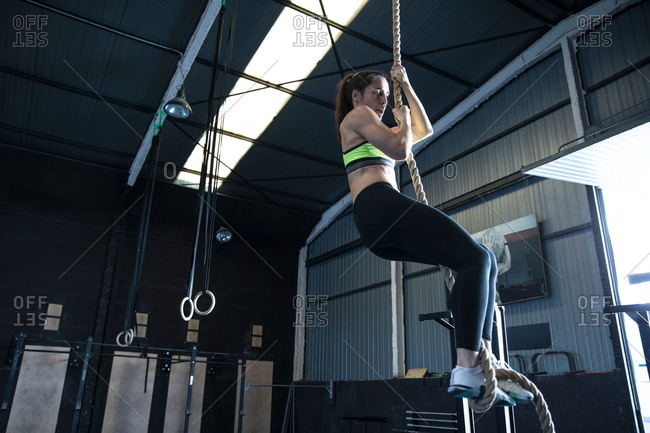 Woman exercising in gym, climbing rope
