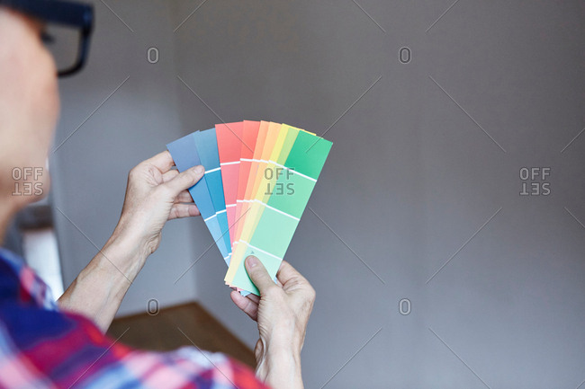 Woman With Color Chart Stock Photo Offset