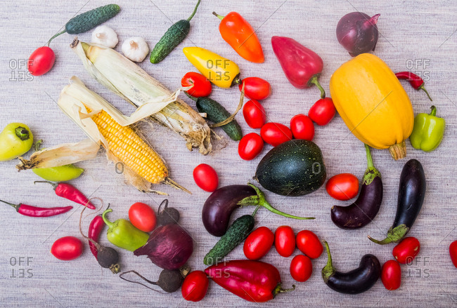 Selection of fresh vegetables on table, overhead view