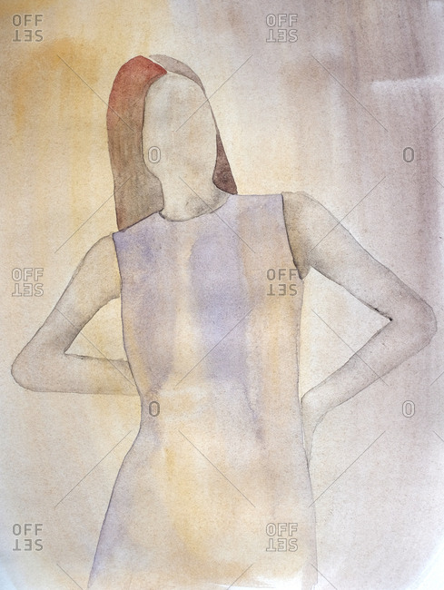 Watercolor image of faceless woman