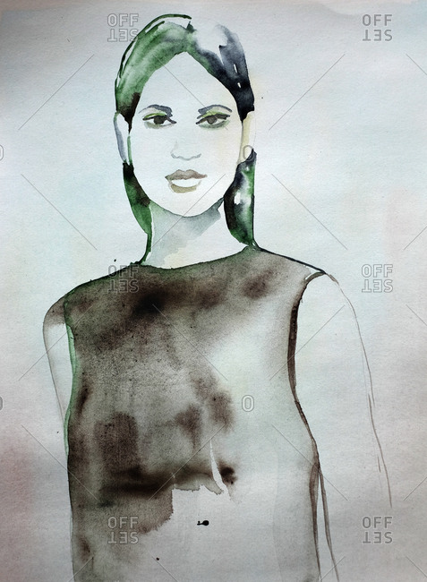 Watercolor portrait of a woman