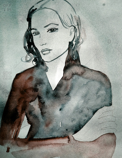 Woman crossing her arms in watercolor