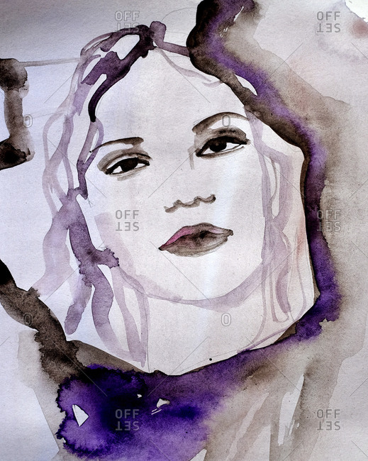 Watercolor portrait of a woman's face