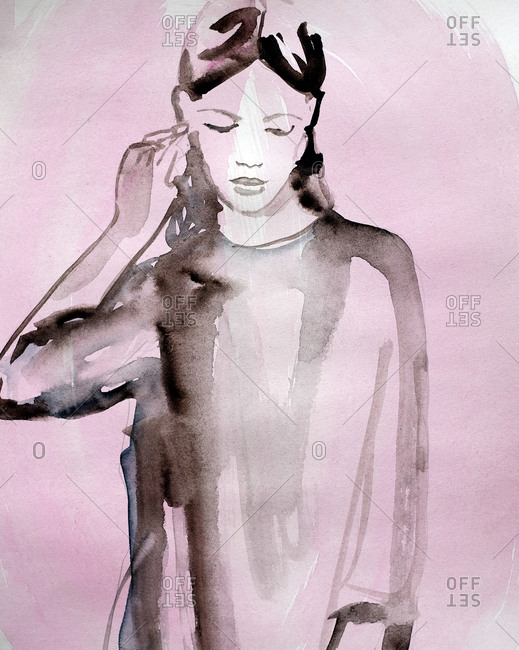 Woman looking down in watercolor