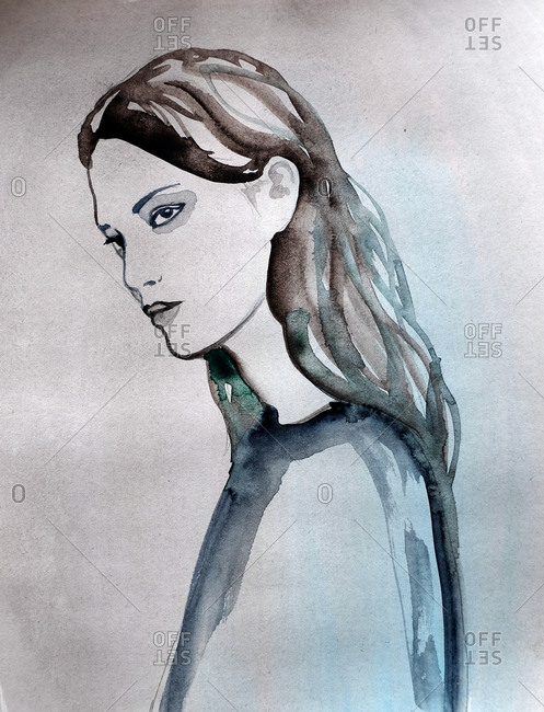 Watercolor portrait of a brunette woman looking away