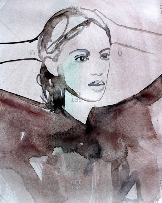 Watercolor illustration of a woman with her hands behind her head