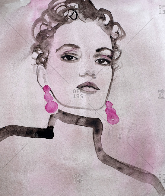 Woman wearing pink earrings