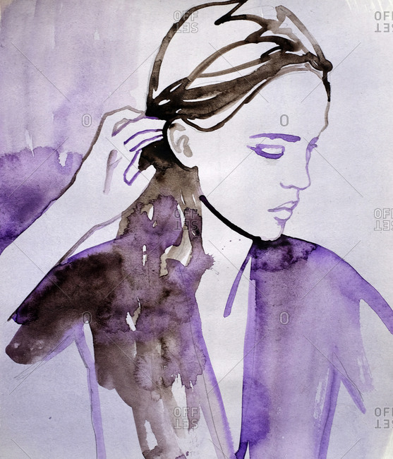 Watercolor illustration of a woman tucking hair behind her ear