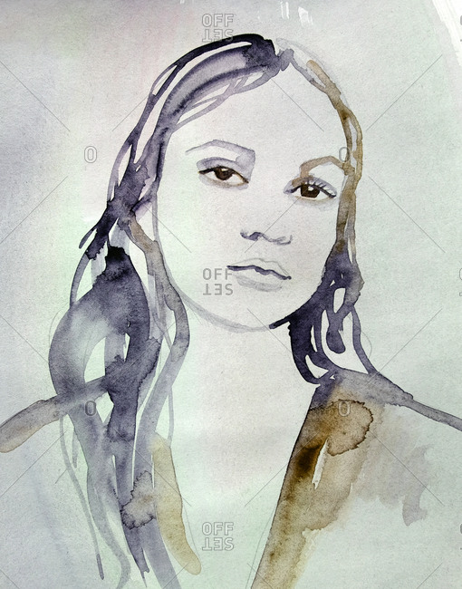 Illustration of a beautiful woman in watercolor