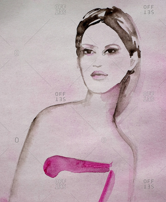 Illustration of a woman wearing pink dress in watercolor