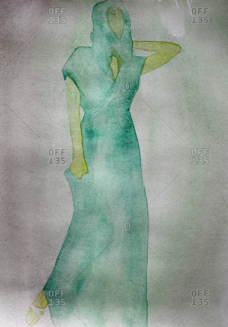 Watercolor image of faceless woman in a green dress