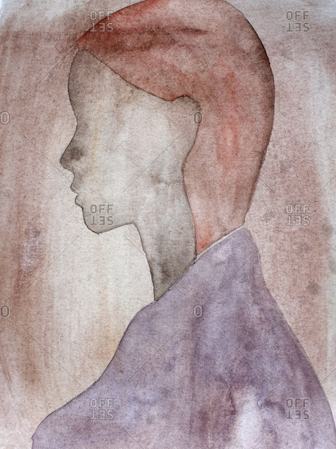 Profile portrait of faceless woman in watercolor