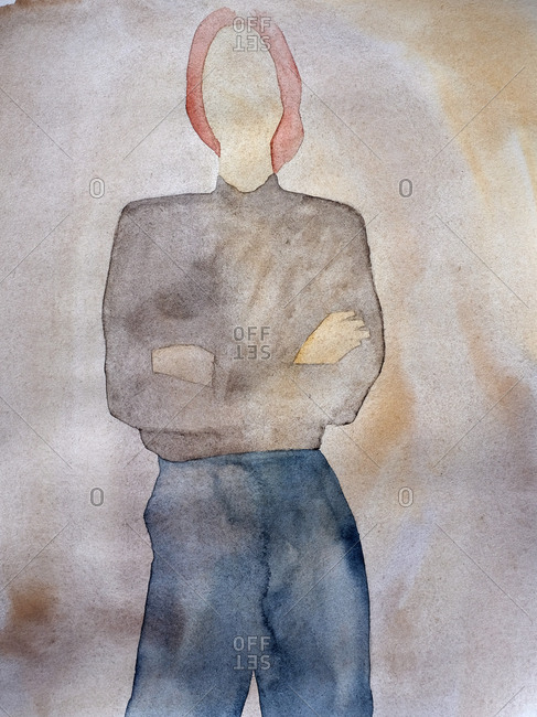 Watercolor image of faceless woman crossing her arms