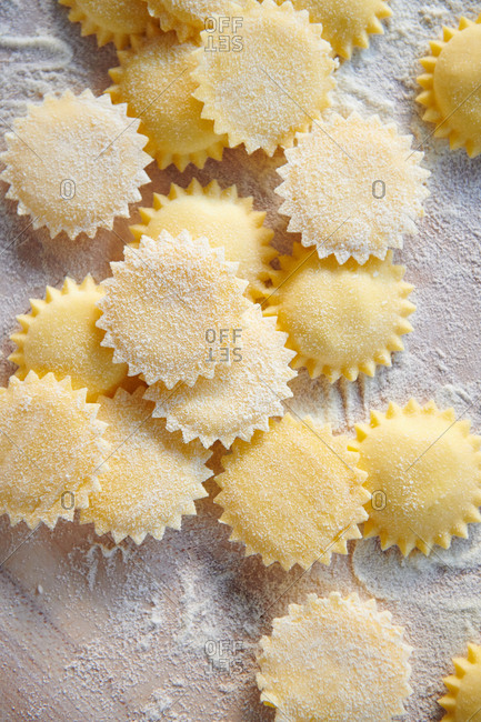 Top down view of handmade sun shaped ravioli