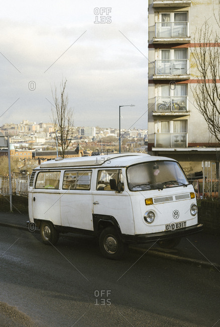 Bristol, United Kingdom - March 06, 2018: Volkswagen Type 2 Kombi Microbus parked on the side of the street