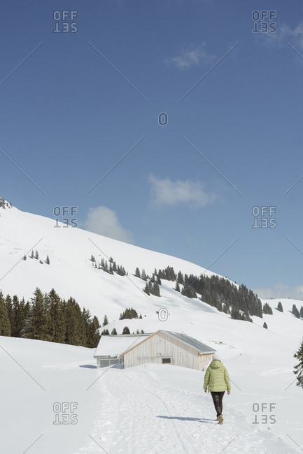 Rearview of woman walking through snow towards cabin in Swiss Alps