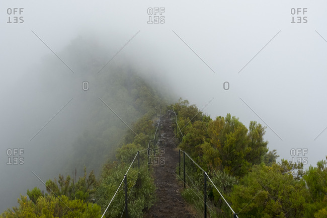 Foggy fenced trail along Pinaculo and Folhadal trek