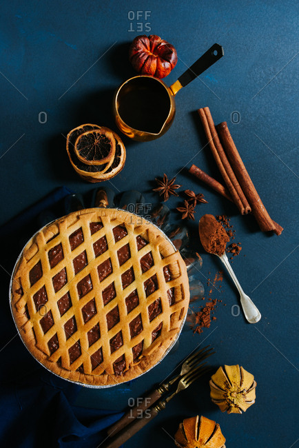 Chocolate tart on a blue background
