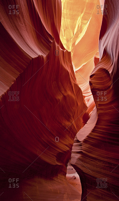 Impressive sandstone walls of the Antelope Canyon at the Navajo Nation, Coconino County