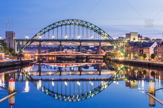The Swing Bridge, the Tyne Bridge, the High Level Bridge between Gateshead and Newcastle upon Tyne and the River Tyne, England, UK