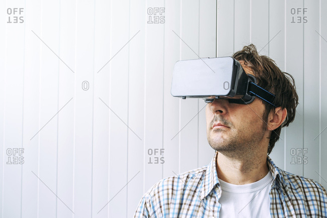 Man with VR headset goggles