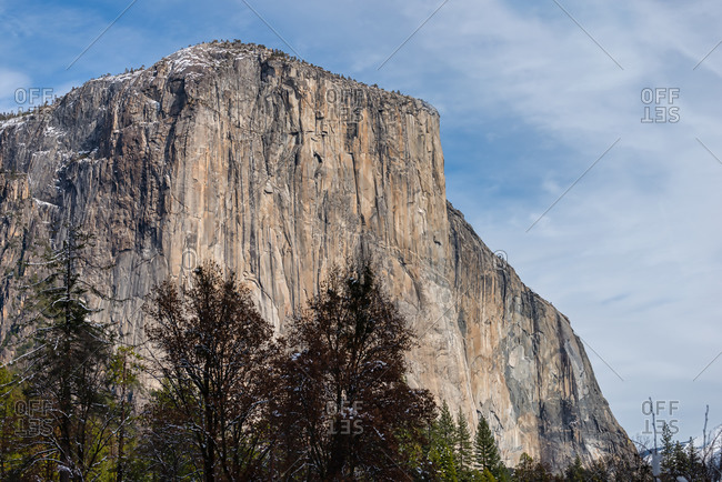 View of El Capitan with snow on the top, Yosemite National Park