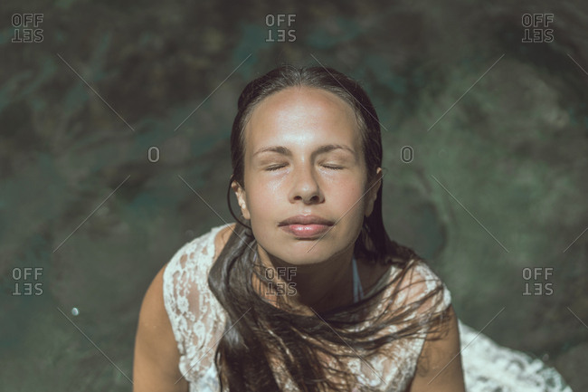 Laos- Woman with closed eyes