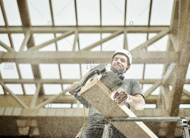 Austria- worker sawing wood