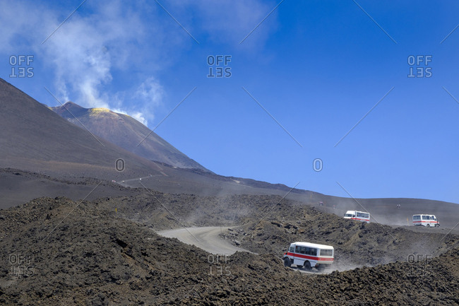 Italy- Sicily- Mount Etna- busses