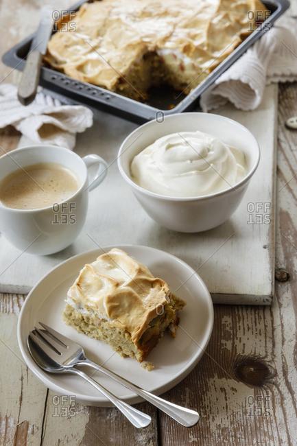 Rhubarb Baiser Cake with buckwheat and cream