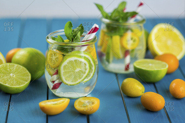 Infused water with lime- lemon- kumquat and mint