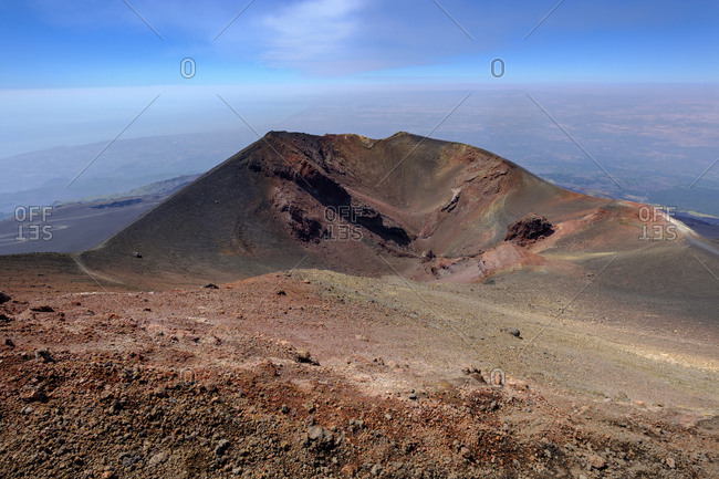 Italy- Sicily- Mount Etna- volcanic crater- lava fields