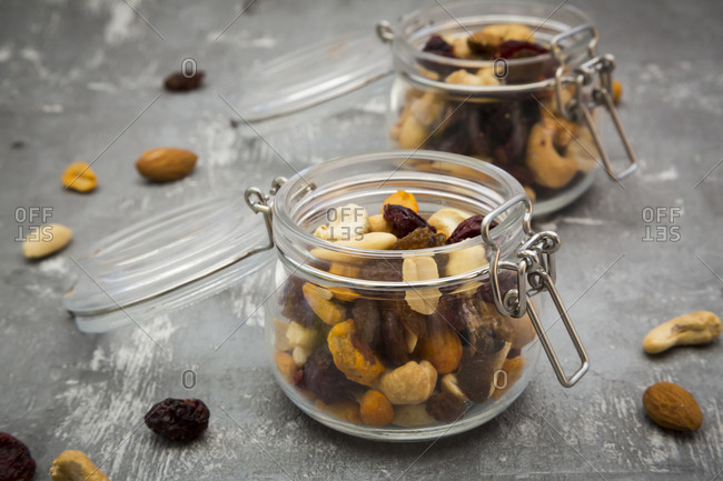 Two glasses of trail mix