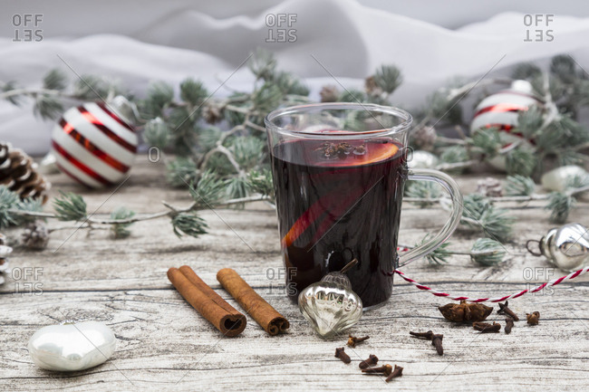 Mulled wine and christmas decoration