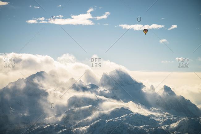 Austria- Salzkammergut- Hot air balloon over Dachstein massif