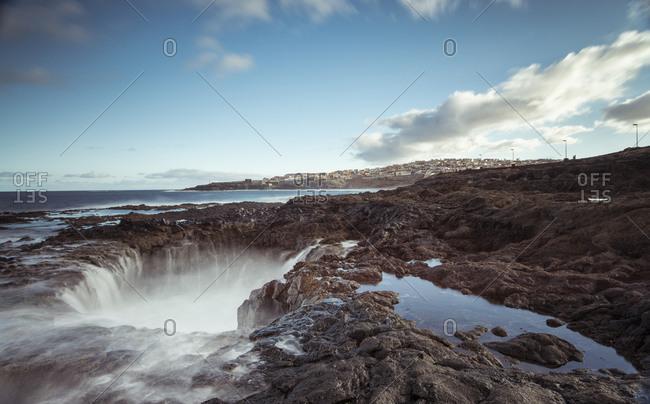 Spain- Canary Islands- Gran Canaria- La Garita- El Bufadero geological formation