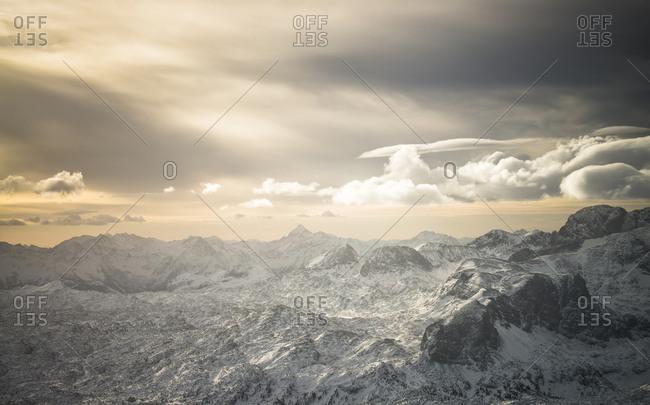 Austria- Salzkammergut- Dachstein massif at sunrise