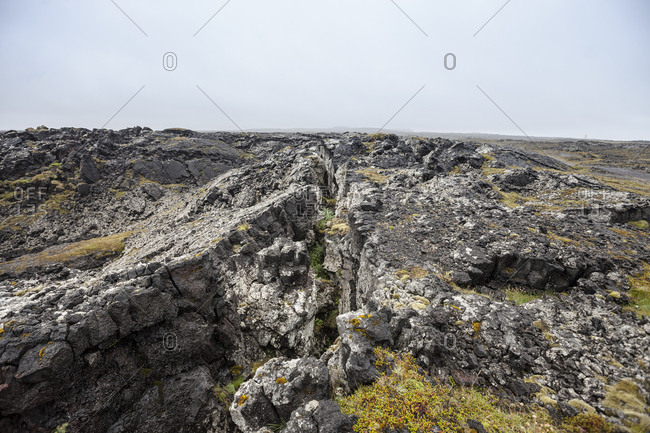Detail of texture of rocky outcrop at Skardsvik, Iceland