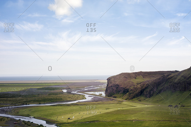 Looking over the alluvial plain created by the Skoga River towards the coast of southern Iceland