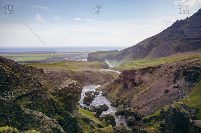 Looking down the valley carved by the Skoga River towards the coast of southern Iceland