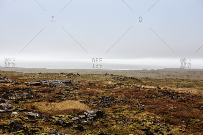 Looking over the rocky moorland of snaefellsnes, Iceland
