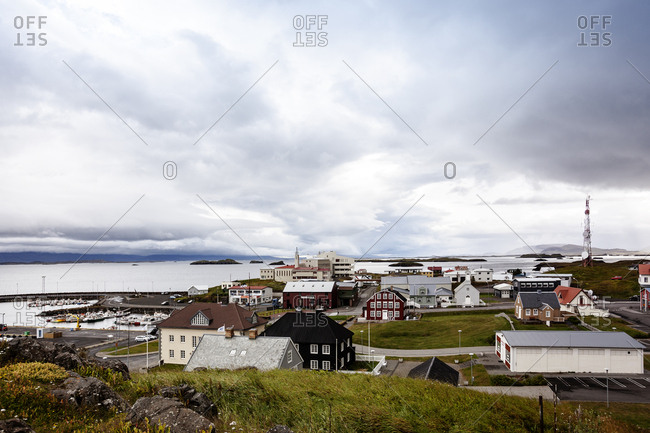 Stykkisholmur, Iceland - August 14, 2013: Looking over the town towards the sea
