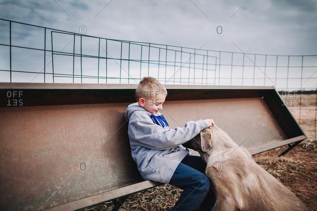 A boy petting a dog