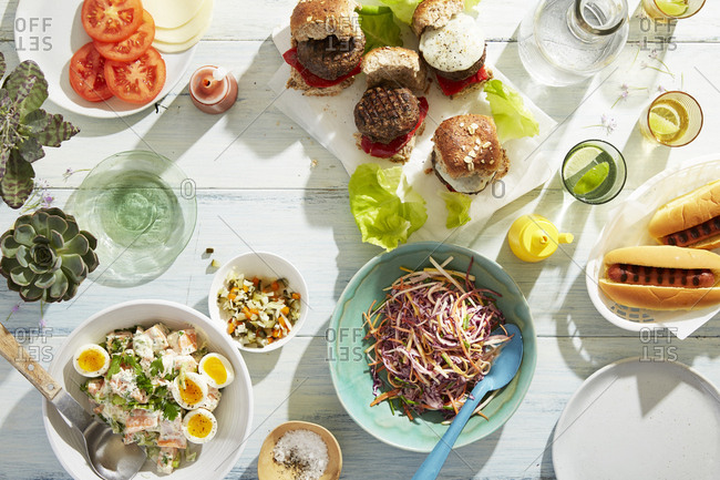 Summer picnic spread from above
