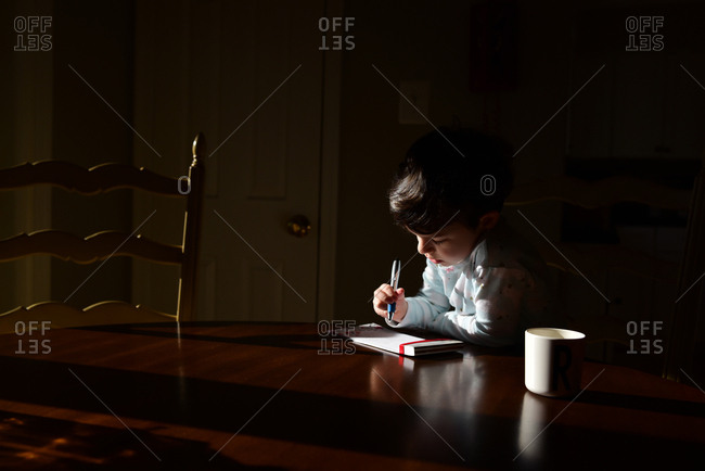 A young girl writes at a table in morning light