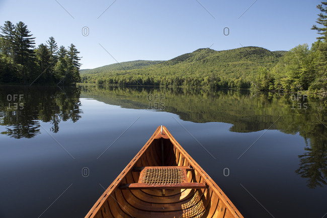 Wooden canoe on Lefferts Pond in Chittenden, Vermont