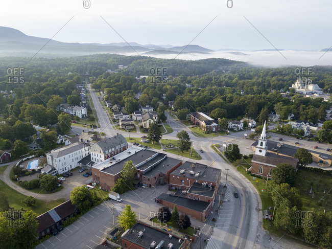 Above view of Vermont town intersections and buildings